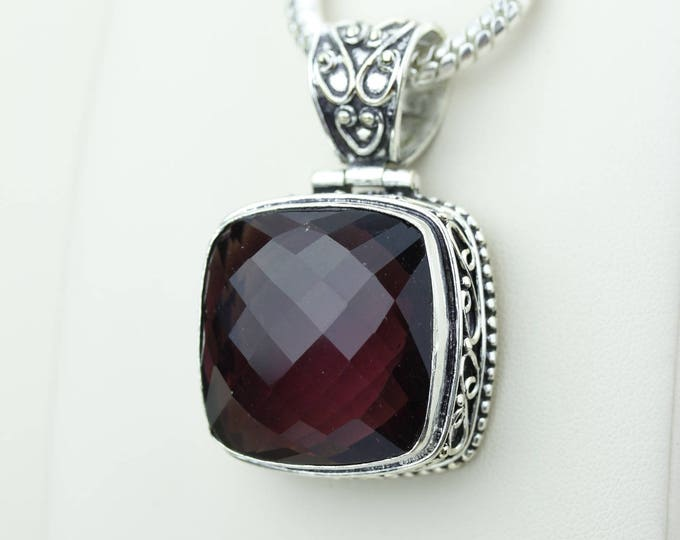 Facated Vintage Setting Garnet 925 S0LID Sterling Silver Pendant + 4MM Snake Chain & Worldwide Shipping p4220