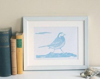 Bergeronnette grise, graphismes originaux de linogravure impression, original, édition limitée, illustration de l'oiseau, pression art bleu blanc, fait main naturelle,