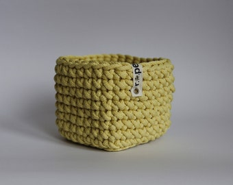 Yellow crochet basket/ Nursery basket/ Storage basket/ Toy storage/ Nursery room decor/ Baby storage/ crochet decor / Summer home decor
