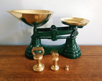 Vintage Librasco gree Kitchen Weighing scales with bell weights and gold pans. Vintage scales, retro scales, vintage weighing scales
