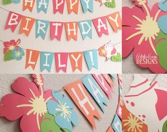 Hawaiian Banner - Moana Themed Birthday - Luau Decorations - Tropical Hibiscus Seashell