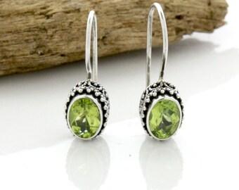 Bali, Silver Peridot Earrings, Bali Sterling Silver Peridot Earrings, Sterling Silver .925 Bali Peridot Earrings, August Birthstone Earrings
