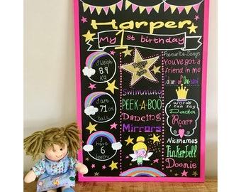 Hand drawn chalkboard, personalised sign, customised, handmade birthday chalkboard, first birthday party, 1st birthday, christening