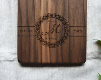 Walnut Cheese Board Personalized Wood. Wedding Gift for Couples.