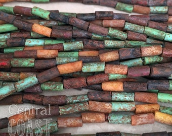 """9mm x 4mm Aged Striped Etched Czech Glass Picasso Bugle Tube Beads 20"""" strand Brick Turquoise Brown - Tribal Bohemian - Central Coast Charms"""