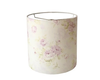 Shabby Cottage Chic Floral Drum Lampshade Lavender Floral Lamp  Shade Nursery Room Lampshade Girl