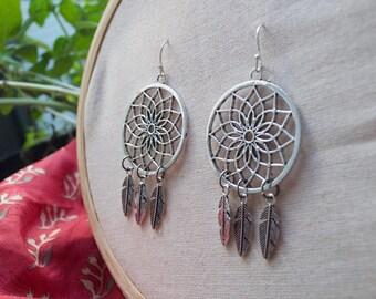 Dream Catcher Earrings. Large Earrings. Spiritual Jewelry. Tribal Earrings. Dreamcatcher Earrings. Mandala Earrings.