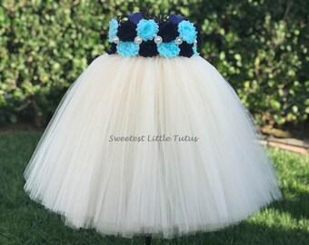 Navy Blue and Aqua Flower Girl Tutu Dress/ Navy Blue Aqua Flower Girl Dress/ Navy Blue Flower Girl Dress/ Aqua Flower Girl Dress