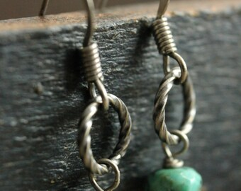 Antique Silver Twisted Hoop Turquoise Earrings