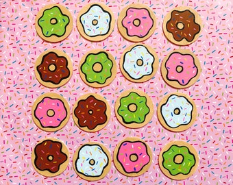 Donut Coasters, Doughnut Coasters, Hand painted, 3 inch set of four