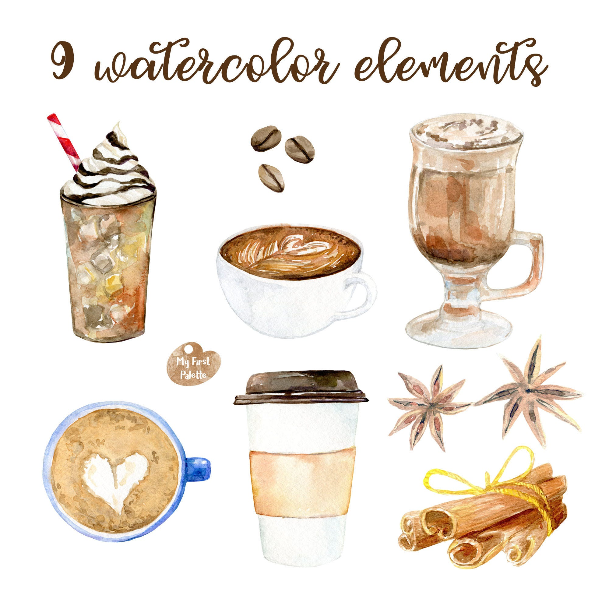 Watercolor Coffee clipart 600 dpi PNG, drink collection ...