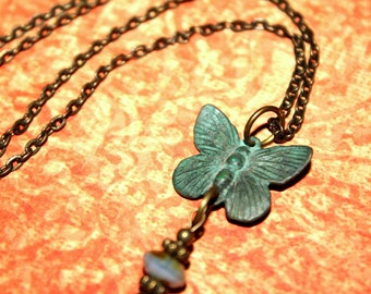 Patina Butterfly Necklace -18 inch necklace