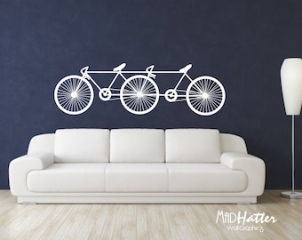 """TANDEM BICYCLE Wall Decal 22"""" X 72"""""""