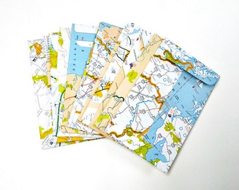 upcycled Maryland map . coin-style pocket envelopes . 12 pieces