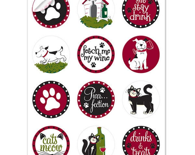 Pet Party Wine Glass Decals - 1 Inch Round Glass Tags - Glass Not included, 12 Per Pack