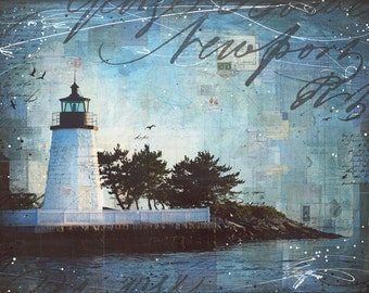 A Summer Night in Newport - paper print of Newport Harbor Rhode Island lighthouse mixed media collage