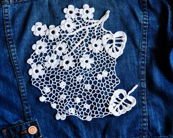 Irish lace pattern womens fashion lace upcycled denim crochet large patch upcycled jacket white Cherry blossom patch Boho lace crochet