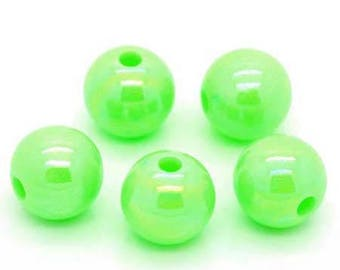 10 x 8 mm Green iridescent plastic beads