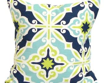 BLUE GREEN Euro PILLOW. 26x26, 27x27 or 24x24 inch Decorative Euro Pillow Cover.Euro Sham.Green Euro Sham.Blue Euro. Blue Euro Cushion.Sham