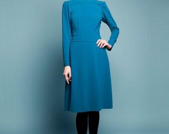 Royal blue dress Silk blue dress Long sleeves dress Mother bride dress A line dress Modest dress Knee length dress Plus size 1940s inspired