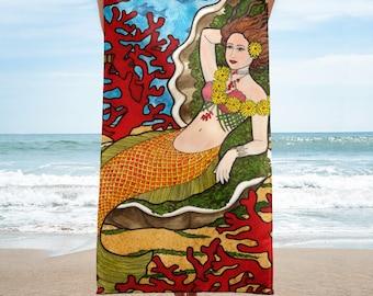 Coral Mermaid Towel