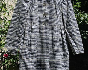 Vintage 1960's Houndstooth Pea-Coat with Diamond Buttons Size Small