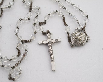 vintage french Rosary, clear glasses beads and metal