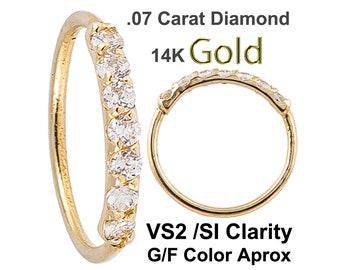Diamond 14k Yellow Gold Nose Hoop 20G 5/16 8mm 7 Hand Set - Prong Set 1.5MM VS2/SI Diamond (Made in USA)