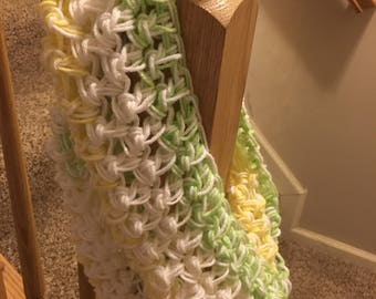 White, Green, and Yellow Infinity Scarf
