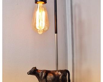 Unique Cow Lamp   Edison Filament Bulb U0026 Marble Base Cast Bronze Look