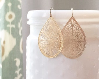 CHARLOTTE | Gold Filigree Teardrop Earrings | Teardrop Earrings Gold | Gold Dangle Teardrop Earrings | Filigree Earrings Gold Boho Earrings