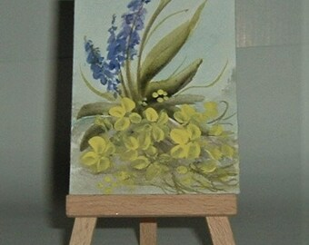 Bluebells and primroses mini aceo painting (ref f186)