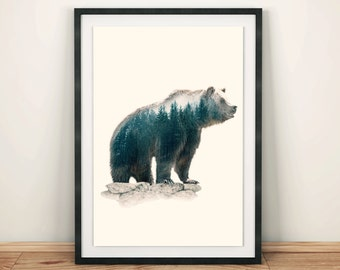 Double exposure Art Bear print Printable wall art Animal print Printable Bear art Home wall print Digital Art Print