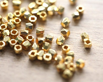 50 pcs of faceted solid metal gold nugget beads - lovely sparkling gold , 3mm
