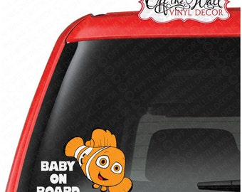 "Finding Nemo ""BABY ON BOARD"" Vinyl Decal Sticker"