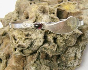 Red Maple Seed Cuff Bracelet with red garnet, cuff bracelet, sterling silver bracelet, garnet gemstone cuff bracelet
