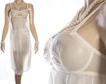 Gorgeous 'Bolepo' shimmering sparkly silky sheer vanilla nylon and delicate lace detail 1960's vintage full bra slip petticoat - S394