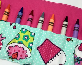 Cupcake Crayon Roll CRAYONS INCLUDED Birthday Gift Ideas for Girls Crayon Holder Cupcake Birthday Party Favor Crayon Storage Crayon Case Art