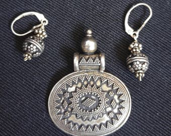 Antique Sterling Ornate Pendant and Earrings Dangle Ornate Middle East?