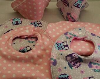 Baby Shower Gift Set, 8 Piece Set, Burp Cloths, Baby Bibs, Baby Wash Cloths