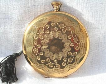Vintage Pocket Watch Style Design Gold Tone Powder Compact Mirror Birthday Present