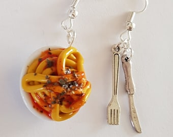 pasta spaghetti Bolognese tomato earrings covered in polymer clay