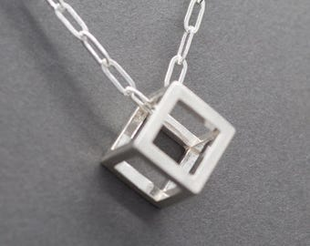 Cube Pendant in Sterling Silver