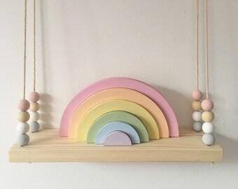 Wooden Rainbow Stacking Rainbow Girls Bedroom Pastel Wooden Rainbow Decor