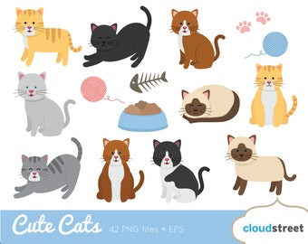BUY 2 GET 1 FREE Cute Cat Clipart / cat clip art / kitten clipart / pet clipart / kitten clip art cat vector illustration -commercial use ok