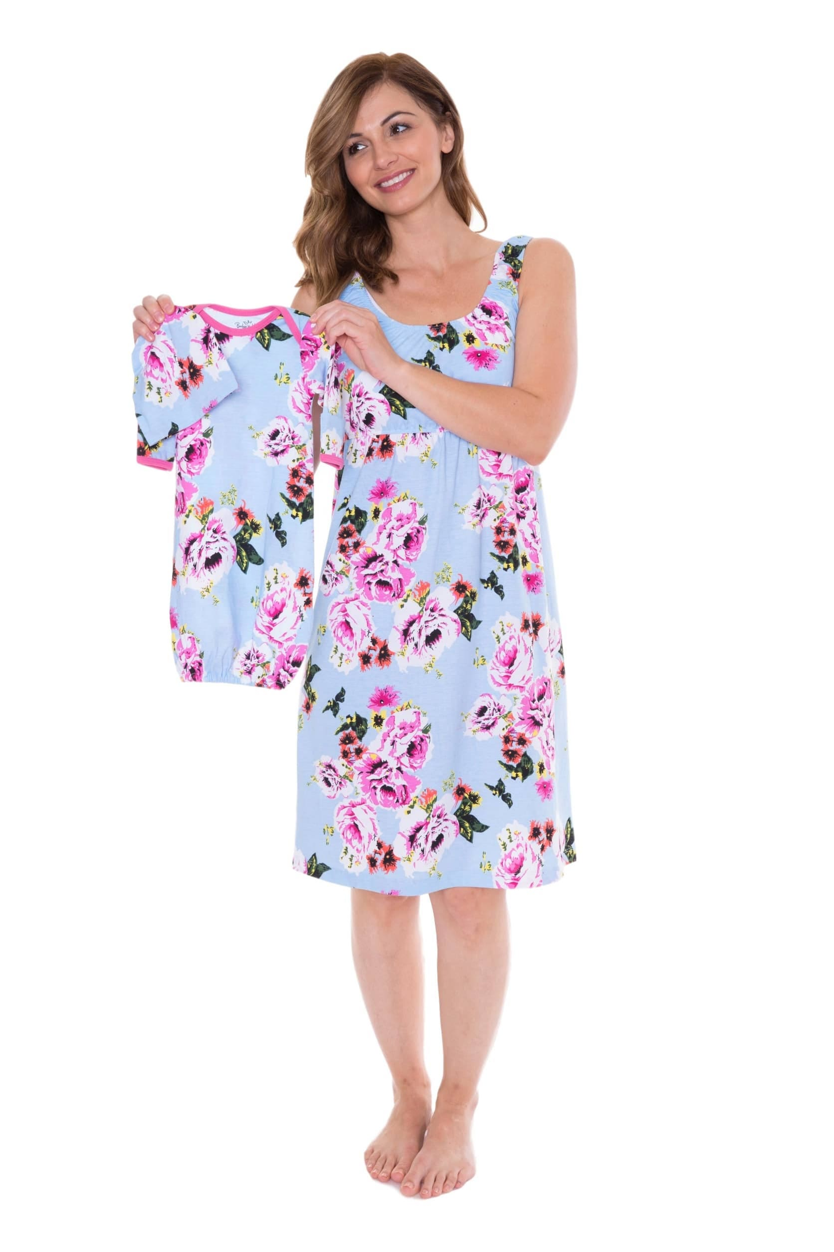 3 PC Set Isla Floral Maternity Nursing Nightgown & Matching