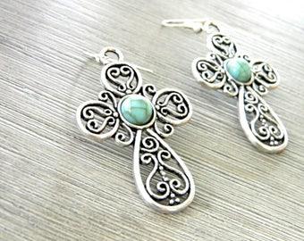 Large Cross Earrings Silver Color Dangle Earrings Imitation Turquoise Center