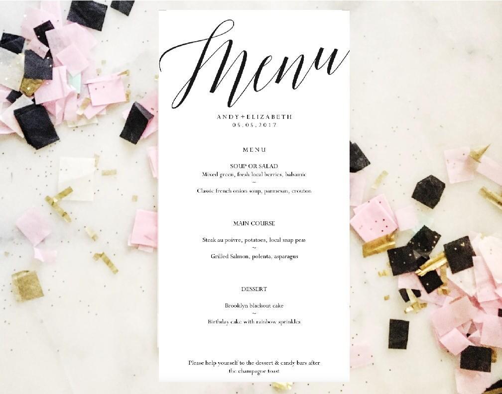 Simple Cursive Menu Template Printable Wedding Menu Template