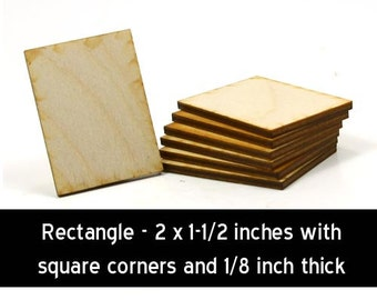Unfinished Wood Rectangle - 2 inches tall by 1-1/2 inch wide and 1/8 inch thicked wooden shapes (RTSQ11)