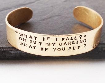 What If I Fall, Bronze Cuff, 8th Anniversary Gift